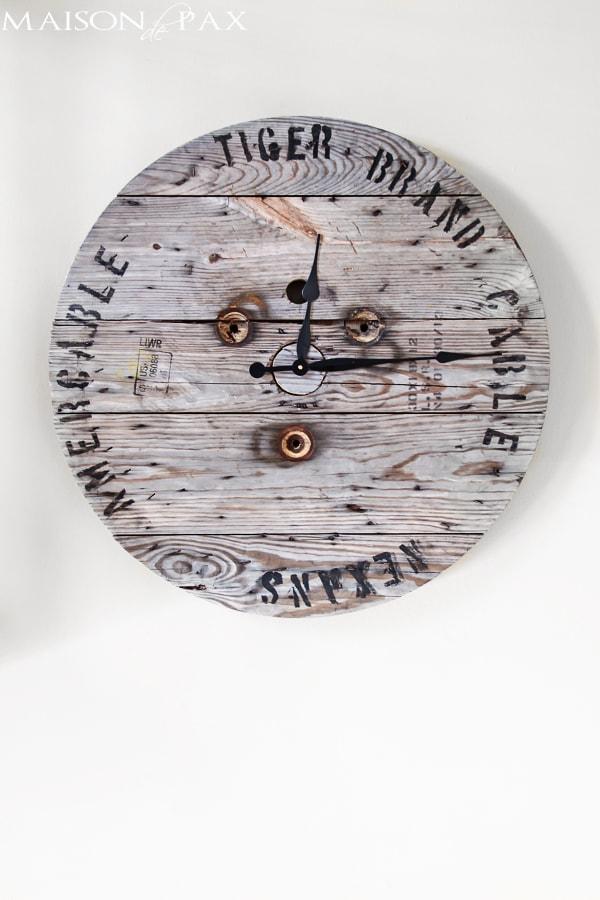 Industrial Spool Clock- Maison de Pax