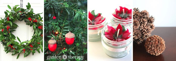 Projects-Garden-Therapy a wreath, red ornaments on a tree, and flower candles.