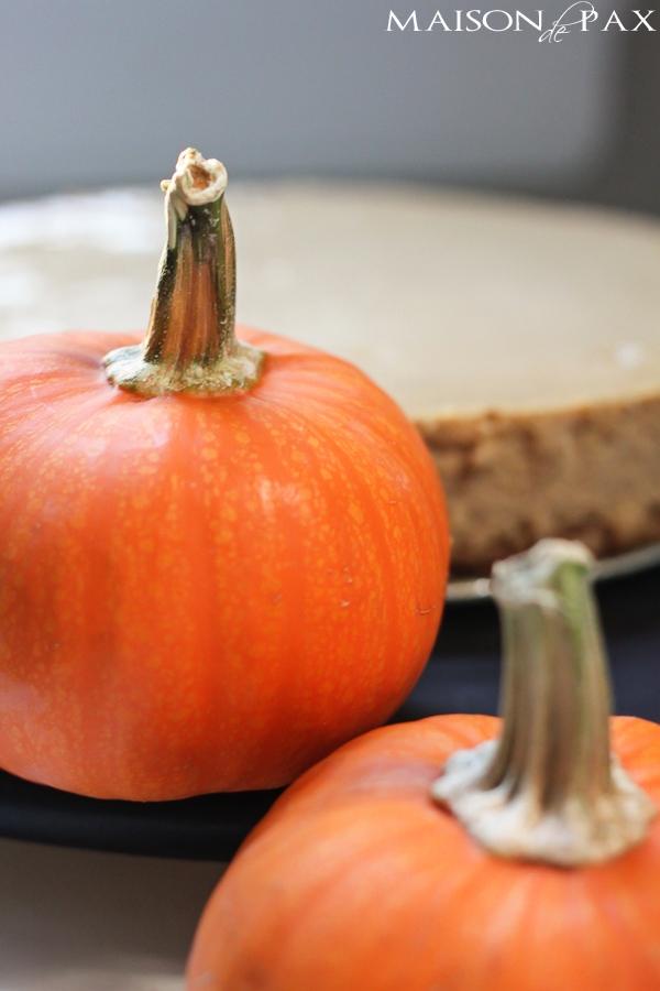 Perfect Thanksgiving dessert - praline pumpkin cheesecake: rich, creamy, spiced, and sweet via maisondepax.com #fall #recipe