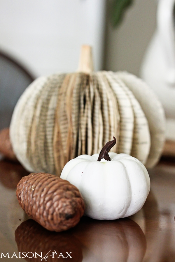 White pumpkin and faux paper pumpkin- Maison de Pax