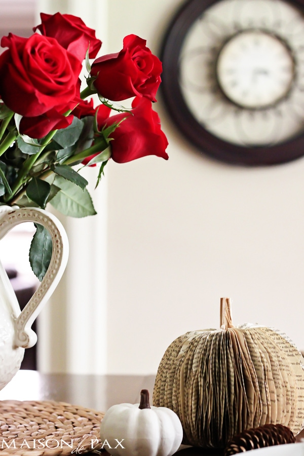 Vase of red roses and paper pumpkin- Maison de Pax