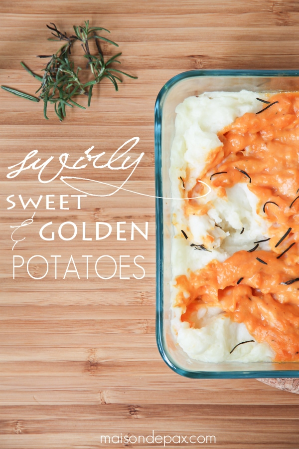 Deliciously seasoned sweet and golden potatoes. Swirled. Baked. You'll never make two separate dishes again! via maisondepax.com #recipe #mashed #potatoes #sweet #thanksgiving #fall