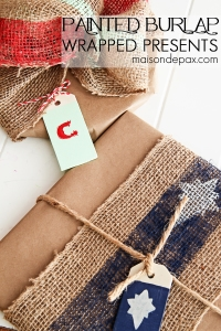Painted Burlap and Craft Paper Gifts