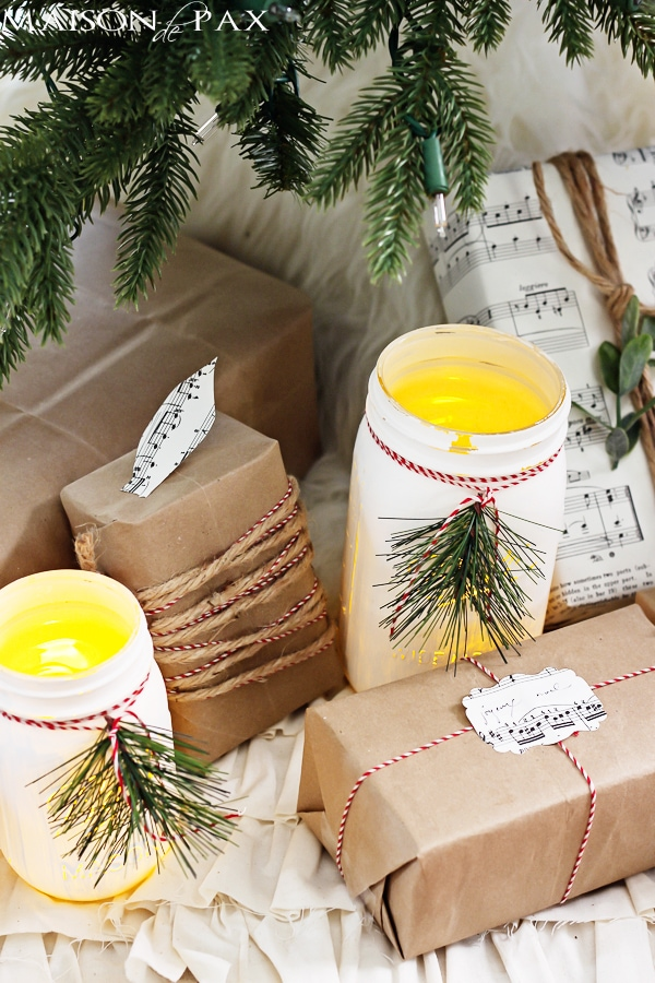 Mason jar luminaries under the Christmas tree - Maison de Pax