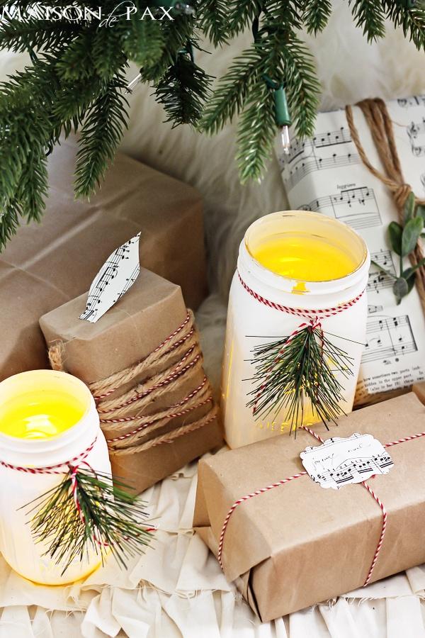 Mason jar luminaries under the Christmas tree - Maison de Pax