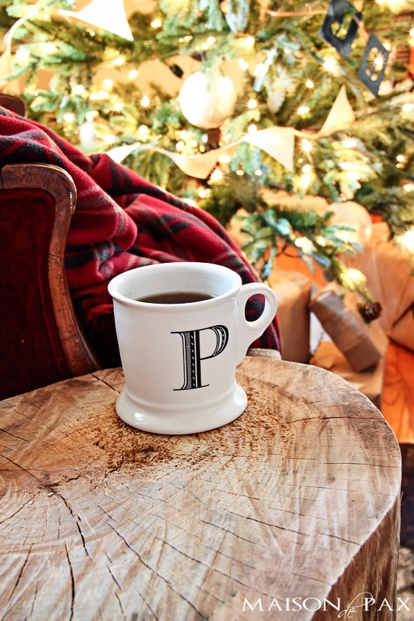 Wood stump table with Anthroplogie coffee mug- Maison de Pax