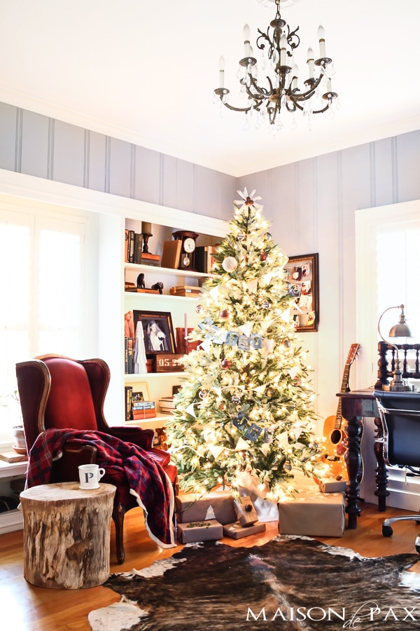 Christmas Living Room with cowhide rug- Maison de Pax