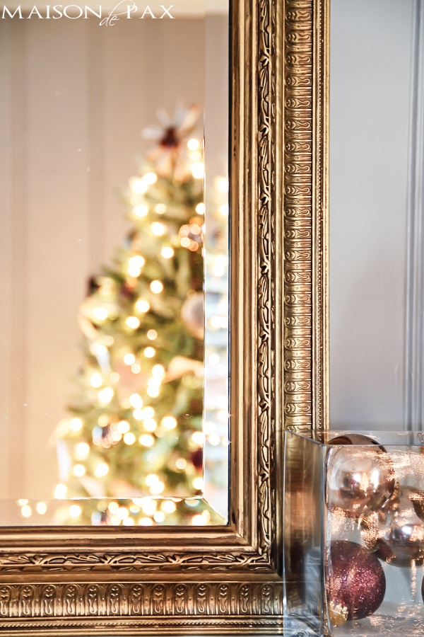 Christmas tree in gilded mirror reflection- Maison de Pax