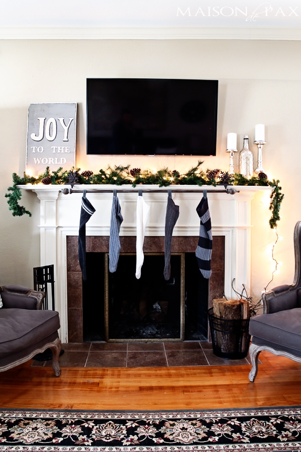 Fireplace decorated for Christmas- Maison de Pax