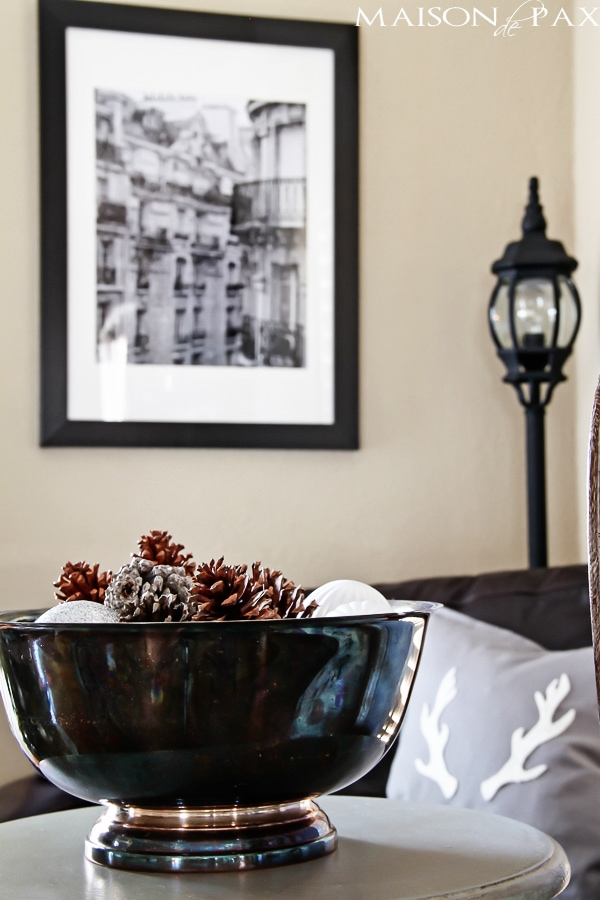 using photography in Christmas decor: stunning black and white photography of Paris via maisondepax.com
