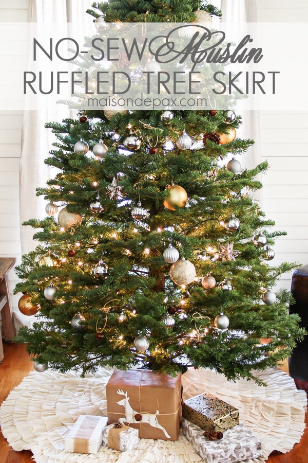 I seriously made this in just one evening! No sew ruffled muslin tree skirt tutorial via maisondepax.com #christmas #tree #skirt #diy