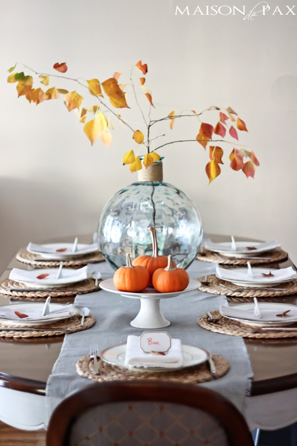 Painted dining room table decorated for fall- Maison de Pax