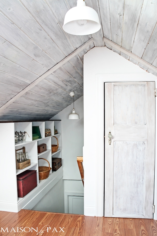A Scary Old Attic Is Converted Into A Gorgeous Guest Room And Office With  Whitewashed Planks