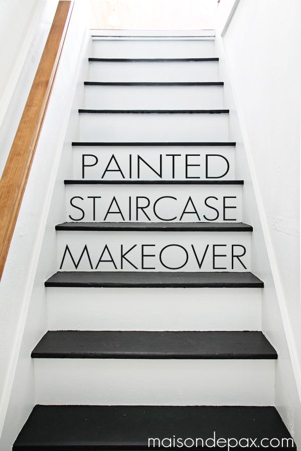 attic paint color ideas - Black and White Painted Stairs Maison de Pax