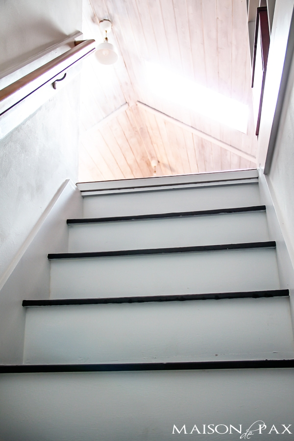 Totally transformed staircase by paint- Maison de Pax