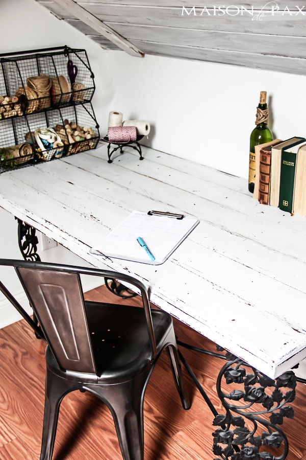 A Scary Old Attic Is Converted Into Gorgeous Guest Room And Office With Whitewashed Planks