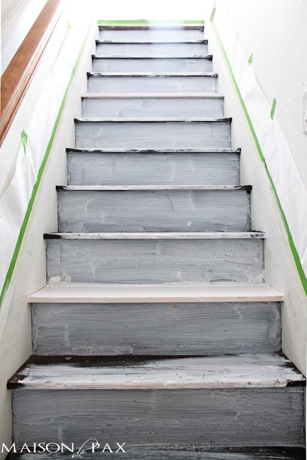 Primed attic stairs- Maison de Pax