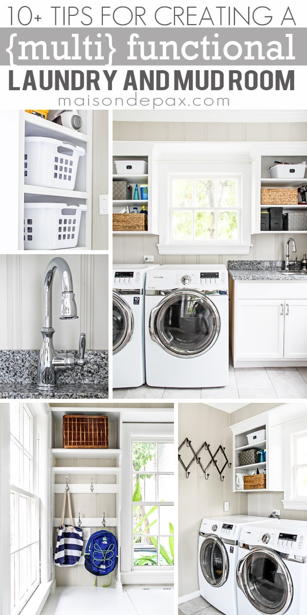 I love this laundry room! 10+ Tips for Creating a {multi} Functional Laundry and Mud Room | maisondepax.com