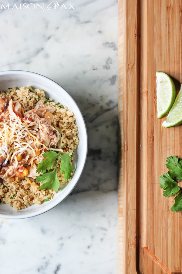 Slow cooker Mexican chicken with cilantro lime couscous - so easy and SO delicious! maisondepax.com