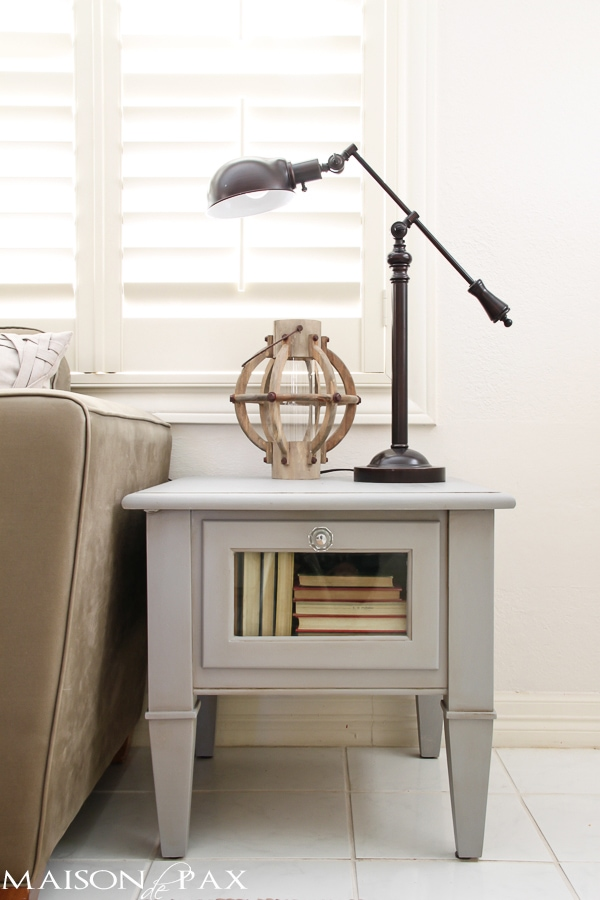 Gorgeous, simple gray chalk paint coffee and side table makeover | maisondepax.com #diy #paint