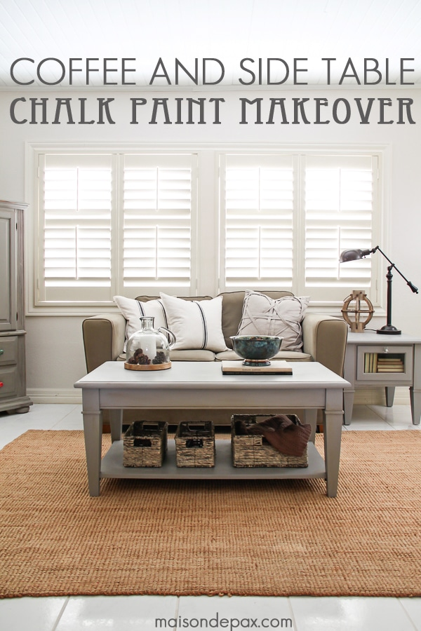 Gorgeous, simple gray chalk paint coffee and side table makeover- Maison de Pax