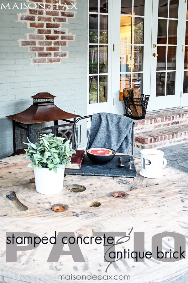 Stamped Concrete and Aged Brick Patio