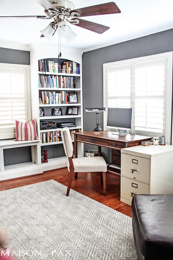 Gray and white office with the wood desk and floors... and those built-in bookshelves! maisondepax.com