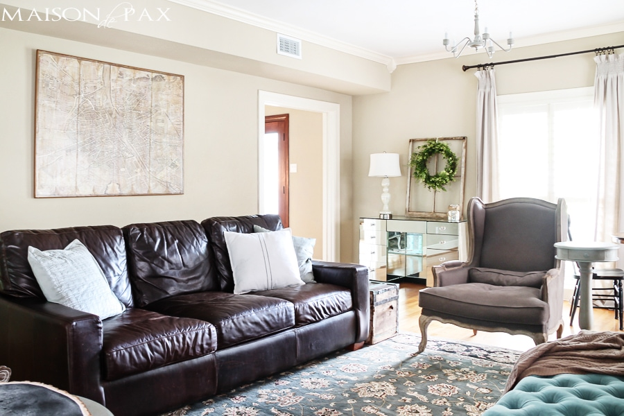gorgeous neutral living room with blue and turquoise accents: mix of antiques, affordable pieces, and diy ideas | maisondepax.com