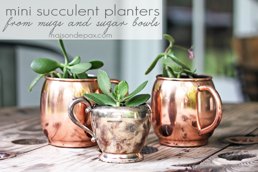 gorgeous copper and silver planters with succulents- Maison de Pax