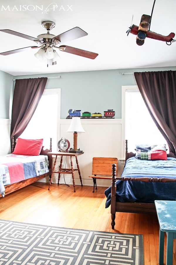 colorful, vintage shared boys room with adorable diy projects | maisondepax.com