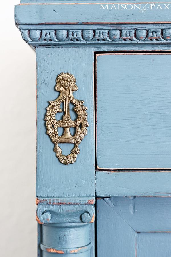 Details of painted dresser with distress- Maison de pax
