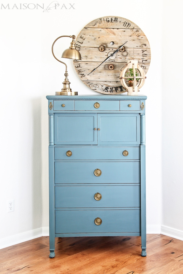 Gorgeous antique dresser painted blue- Maison de Pax #anitiques #frenchvintage