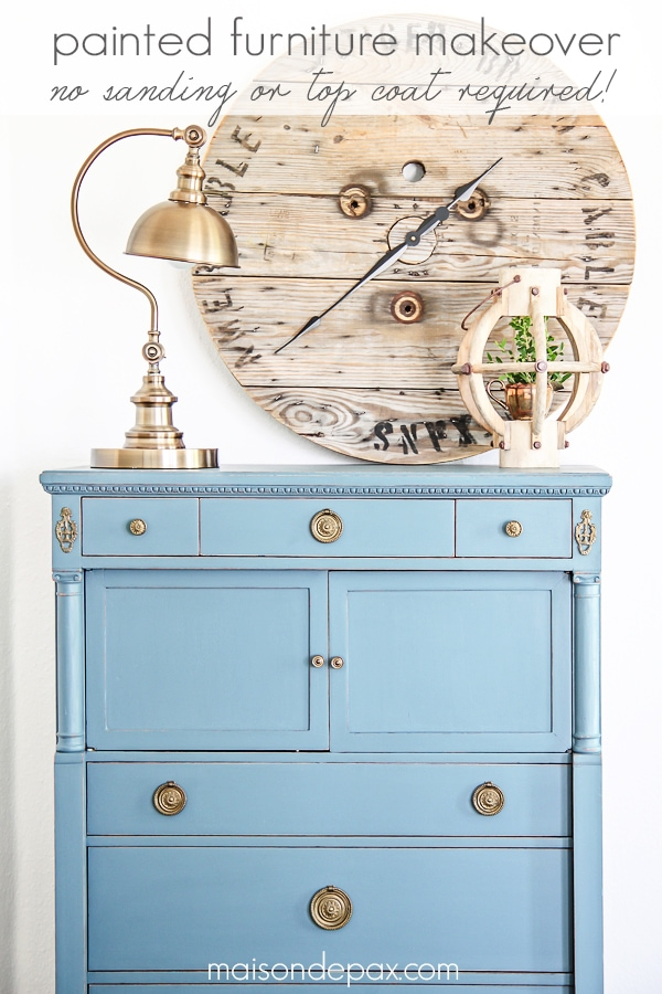 Gorgeous antique dresser painted blue- Maison de Pax