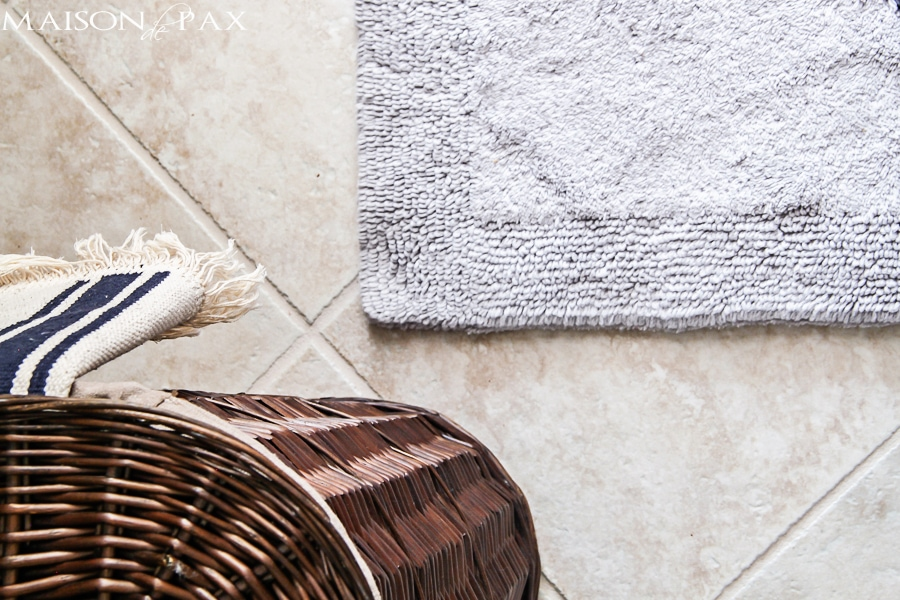 soft, fluffy organic cotton bath rugs are perfect in this beautiful powder room | maisondepax.com