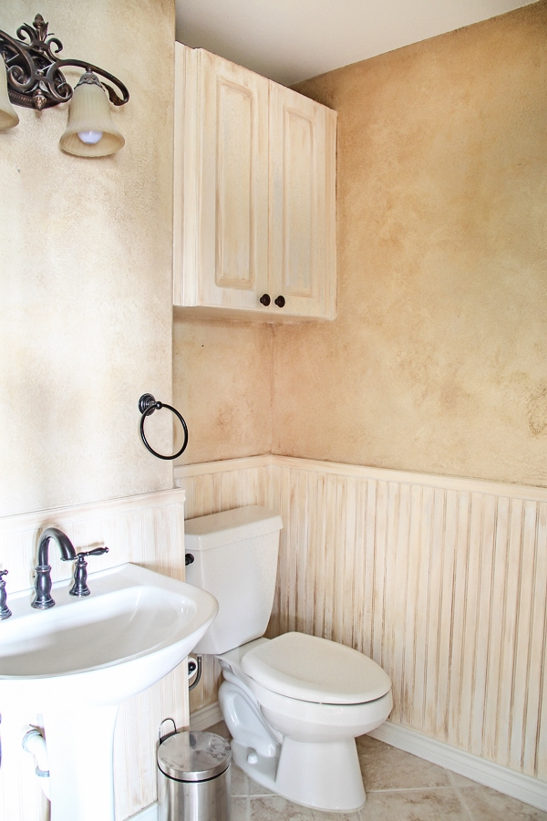 Before adding wainscoating to a small powder bathroom- Maison de Pax