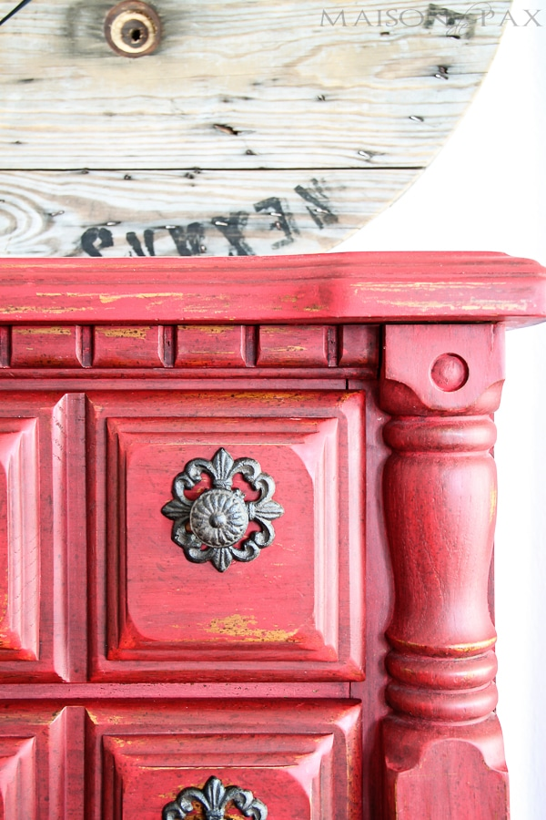 gorgeous vintage dresser refinished in a distressed, rustic red milk paint | maisondepax.com
