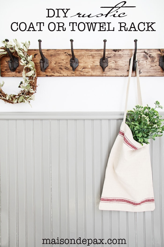 This DIY rustic towel rack is gorgeous! The rustic finish and strong, sturdy hooks make this a perfect coat or towel rack for any space. Great step-by-step tutorial, too! maisondepax.com