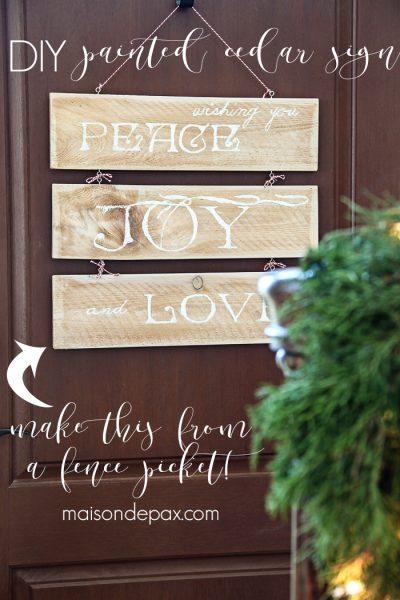 Cedar Door Hanger (from a fence picket)
