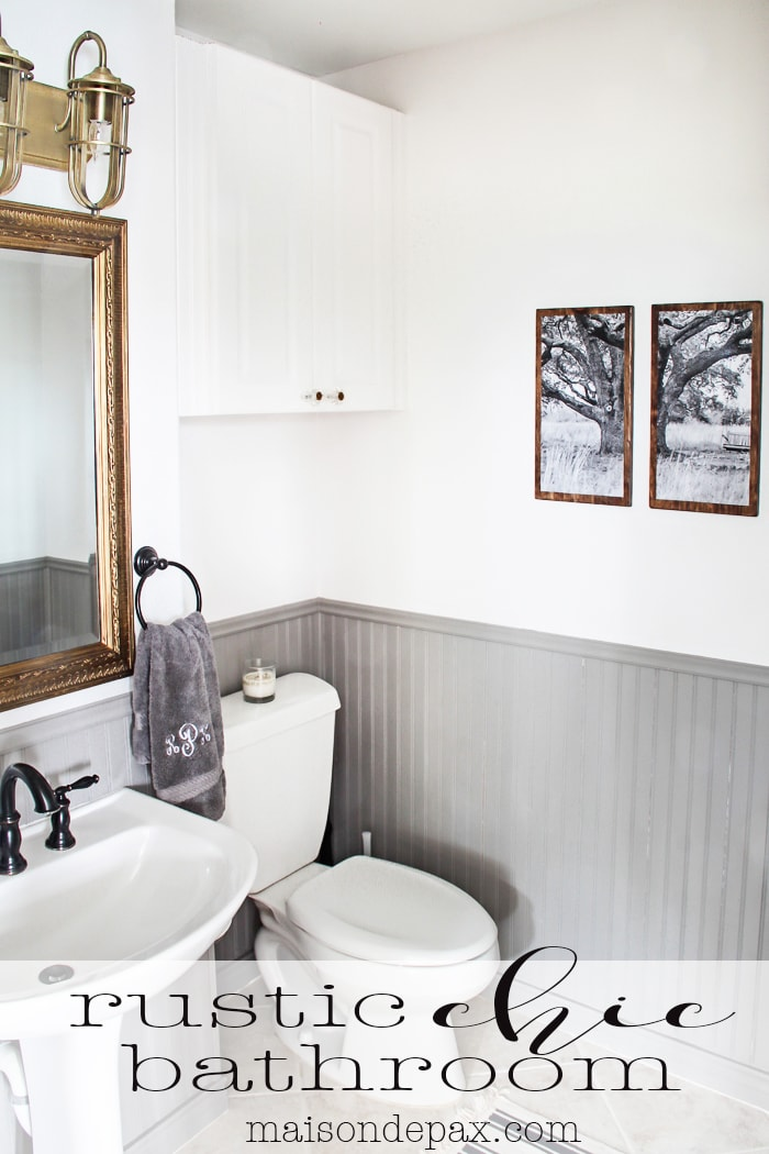 Gorgeous Rustic, Chic Bathroom: Gold Mirror, Rustic Wood Towel Rack.