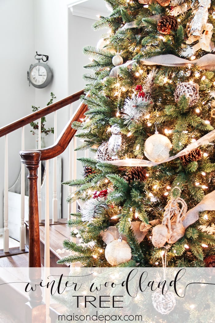What a beautiful Christmas tree! Natural elements and neutral ornaments  make this winter woodland tree - Winter Woodland Christmas Tree - Maison De Pax