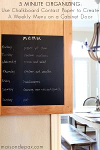 Quick Organizing: Chalkboard Weekly Menu