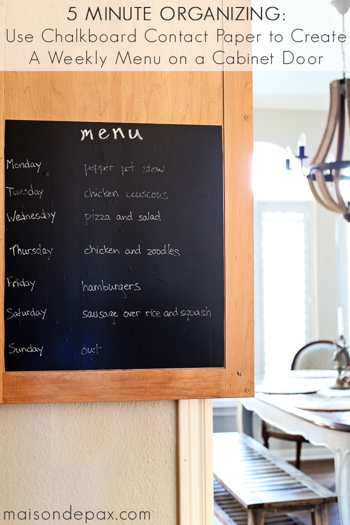 Quick Organizing: Chalkboard Weekly Menu - Maison de Pax on chalkboard wall kitchen dining, chalkboard kitchen cabinets, chalkboard fridge, chalkboard paint backsplash kitchen,