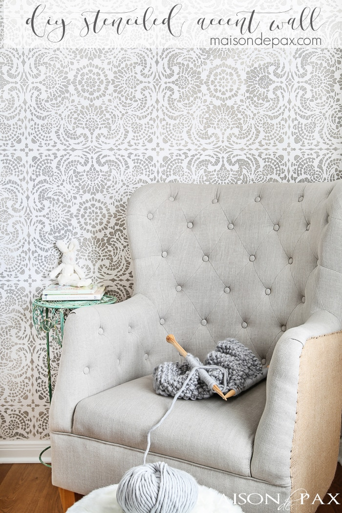 What A Gorgeous Accent Wall This Stencil Gives The Elegant Look Of Wallpaper With