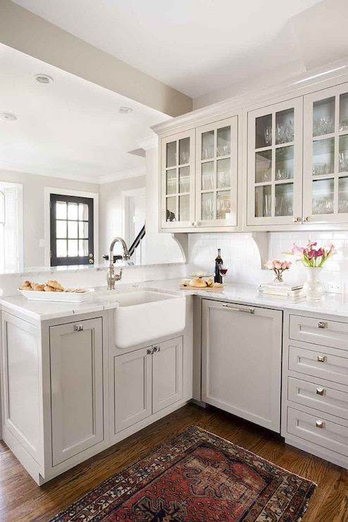 pale gray, small kitchen with farmhouse sink