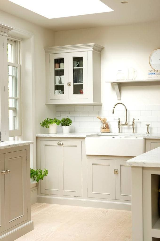 pale gray kitchen with farmhouse sink