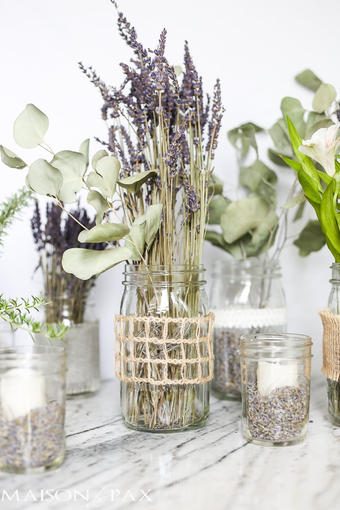 Mason Jars With Dried Lavender Make Easy And Gorgeous Centerpieces For Home Parties