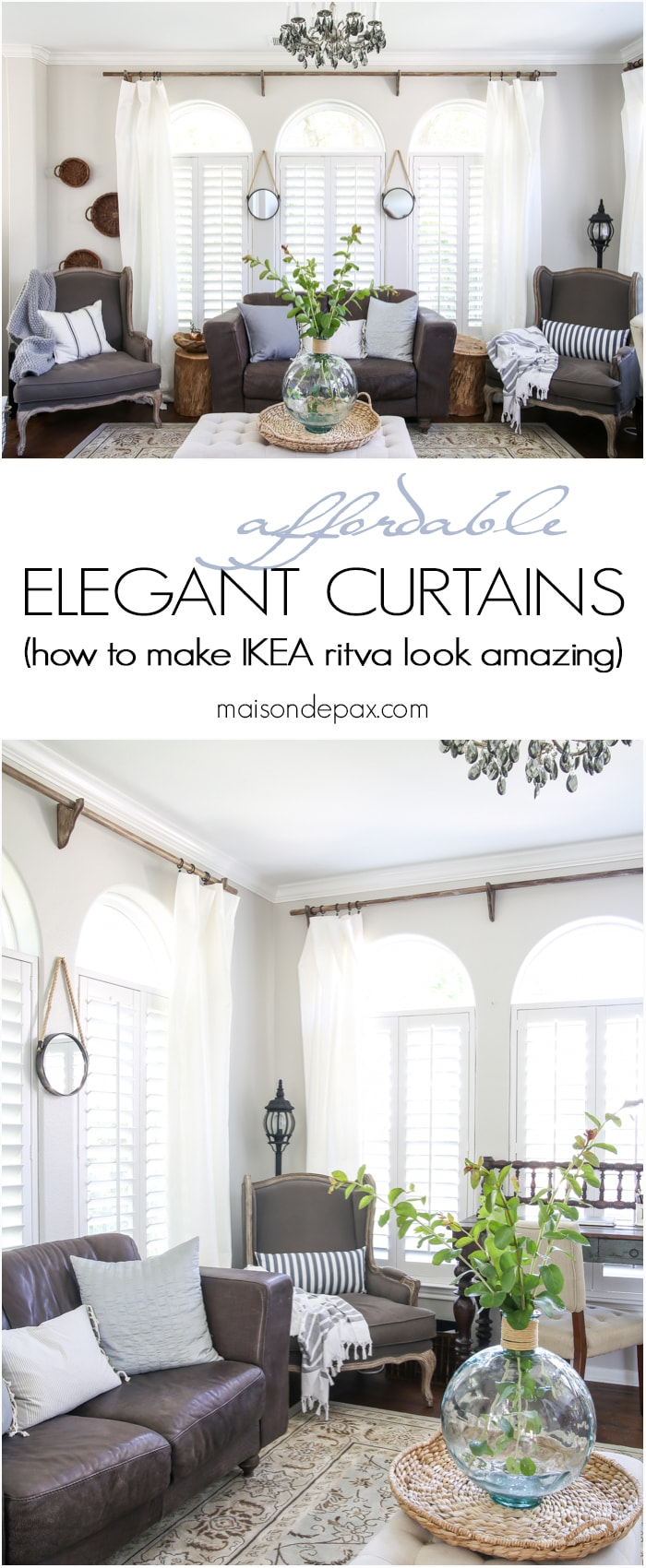 Ikea Ritva white curtains with diy curtain rods: affordable decorating ideas | maisondepax.com