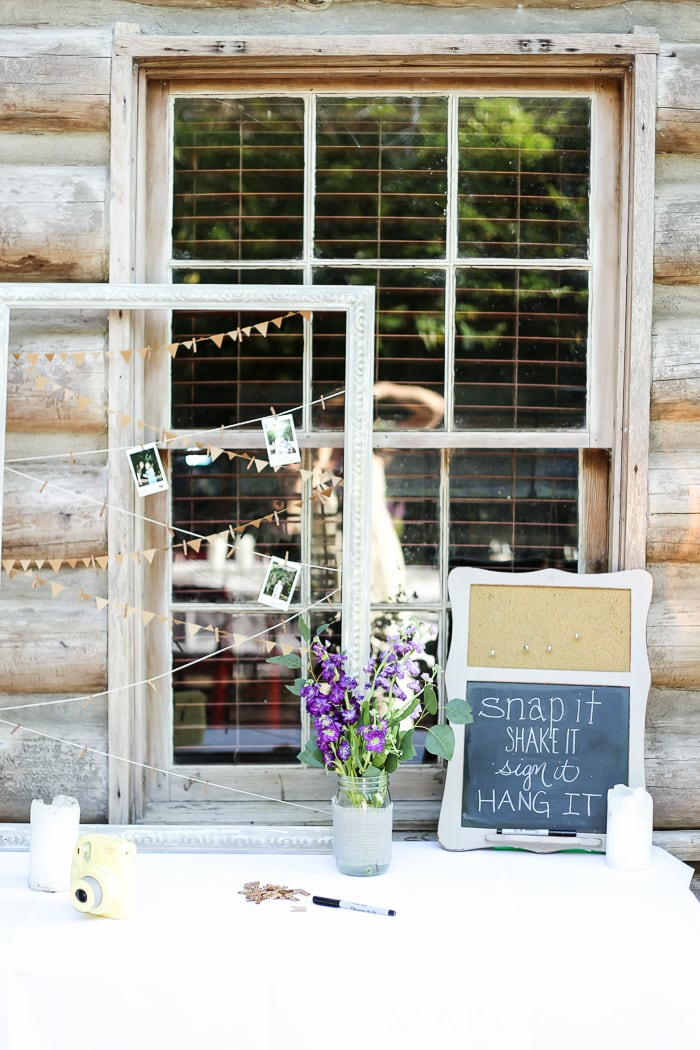 polaroid station instead of a wedding guest book: rustic wedding decorations | creative decorating ideas for a rustic chic wedding or rehearsal