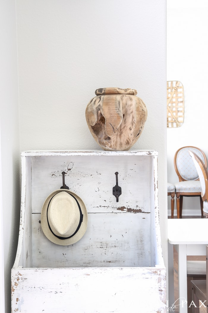 Raw wood vase in modern farmhouse entry- Maison de Pax