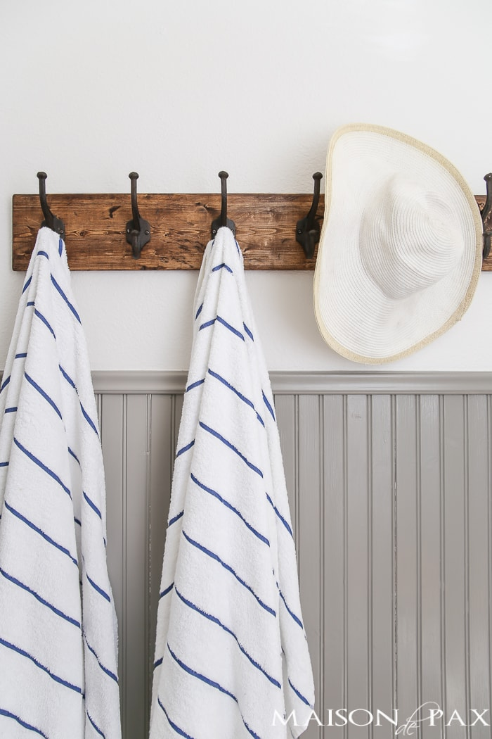Summer home tour with towel hooks in powder bathroom - Maison de Pax